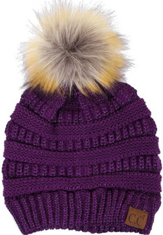 LAST CALL - CC Beanie with Fur Pom - Purple