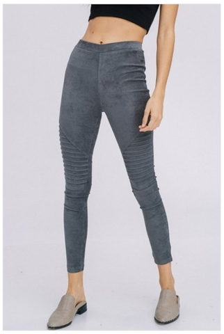 Suede Moto Leggings - Charcoal