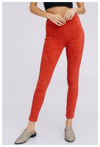 Suede Moto Leggings - Cherry - LAST CALL XS
