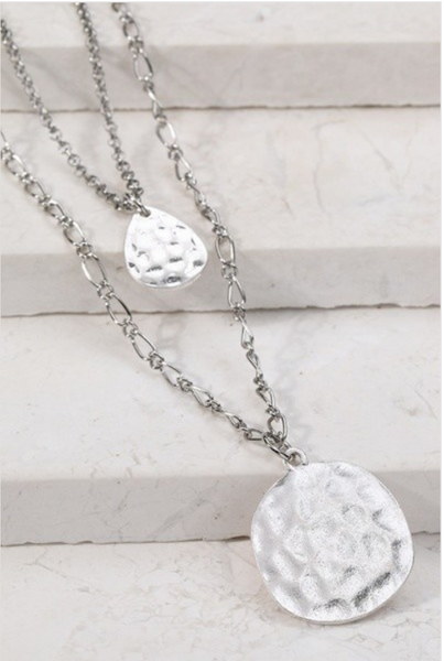 Double Hammered Coin Necklace