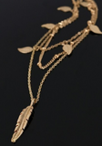 Short Layered Leaves Necklace