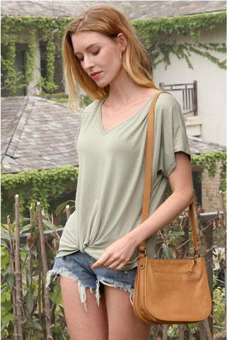 Knotted V Neck Tee