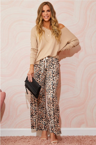 Drawstring Leopard Pants