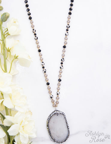 Charcoal Desert Beaded Stone Necklace