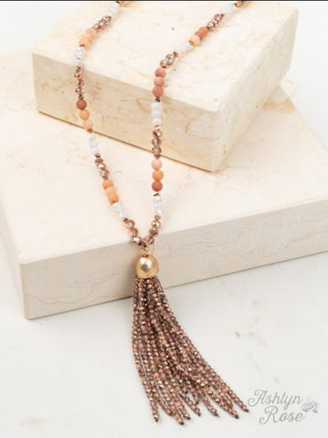 Shining Sunrise Beaded Tassel Necklace