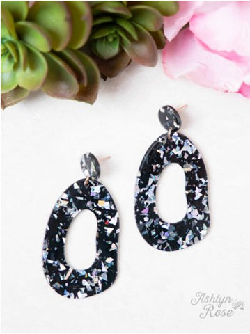 Black Multi Sparkle Drop Earrings
