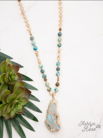 Blue Lagoon Beauty Beaded Stone Necklace