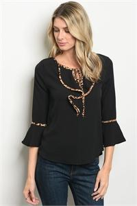 LAST CALL - Leopard Trimmed Top - XS Black