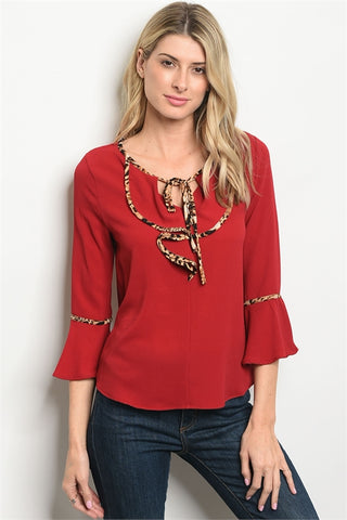 LAST CALL - Leopard Trimmed Top - XS Red