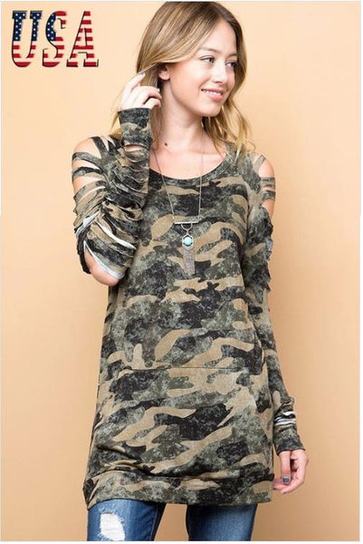 Camo Cut Out Tunic