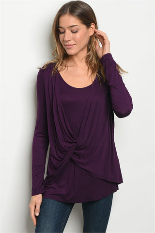 LAST CALL - Twist Front Top - Purple S