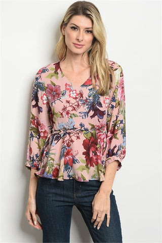 LAST CALL - Waist Detail Floral Top - S & M