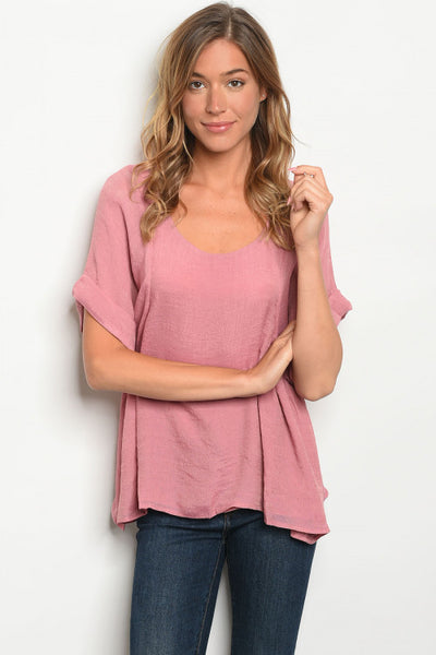 Rolled Sleeve A-Line Split Back Top