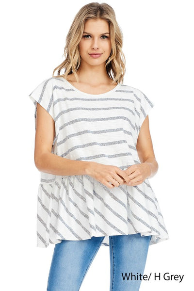 Striped Peplum Top by Piko