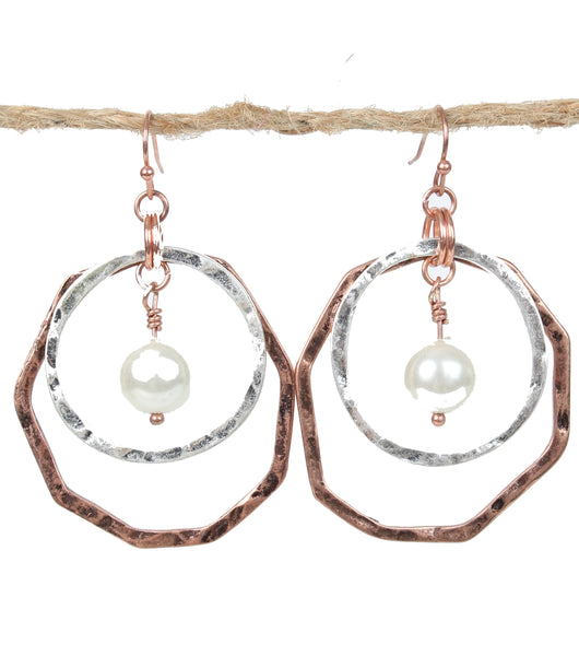 Pearl Drop Double Loop Earrings