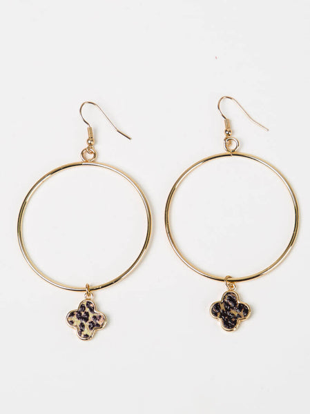 Leopard Accent Loop Earrings