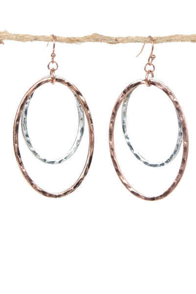 2 Tone Double Loop Earrings