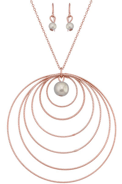 Circled Pearl Rose Gold Long Pendant
