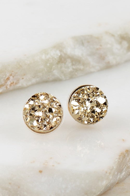 white druzy earrings women sterling plated sale for silver natural stud real