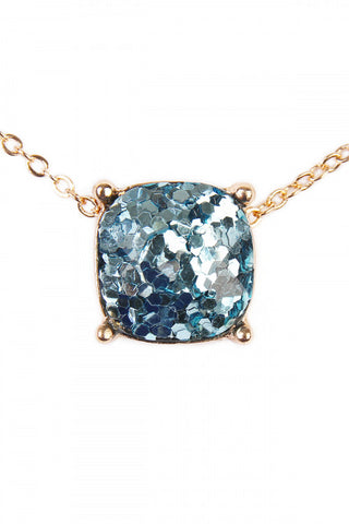 Cushion Cut Glitter Necklace