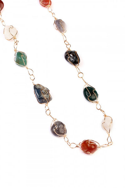Natural Stone Wire Necklace