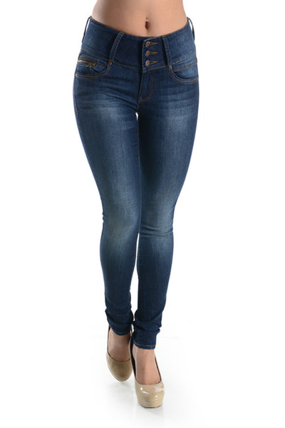 Higher Waist Blasted Jeans