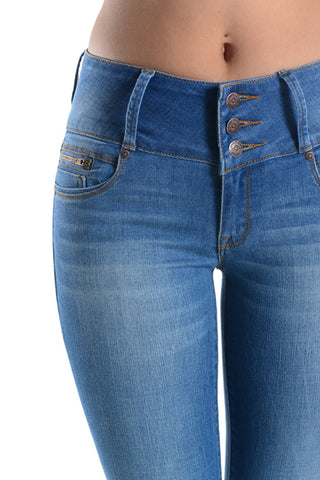Higher Waist Blasted Jeans - Light Wash