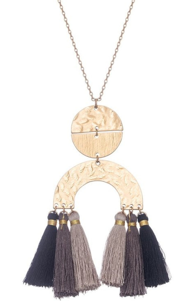 Geo Necklace with Ombre Tassels