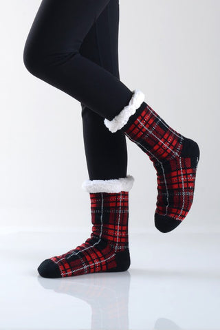 Fuzzy Plaid Socks
