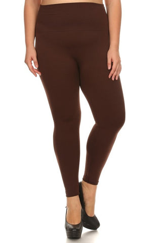 Plus HighWaist Fleece Leggings - Brown