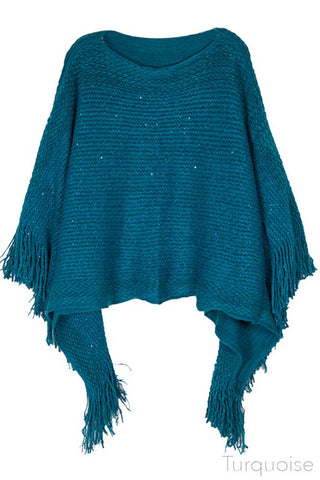 Teal Sparkle Poncho