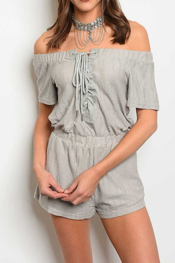 Lace Up Off Shoulder Romper