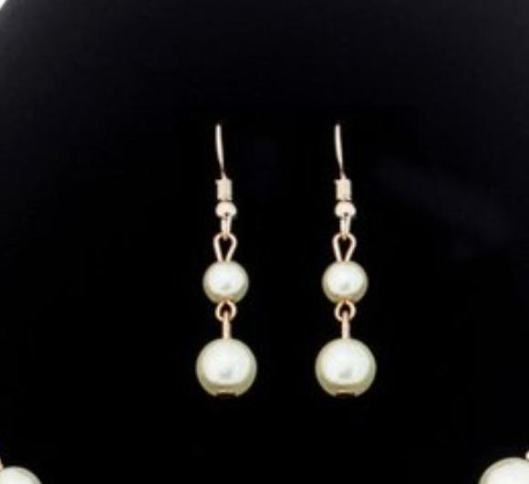 Pearl Double Drop Rose Gold Earrings