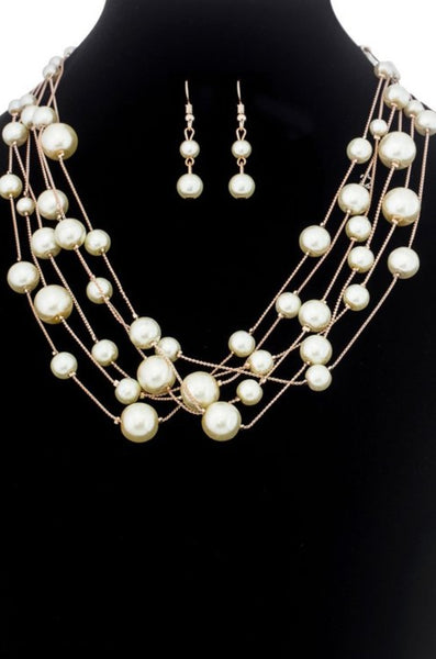 Multi Strand Pearl Necklace on Rose Gold