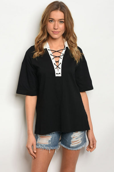 Collared Lace Up Top