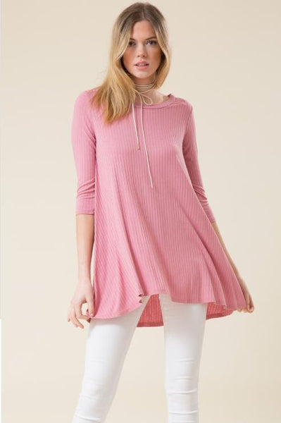 Ribbed 3/4 Sleeve Tunic