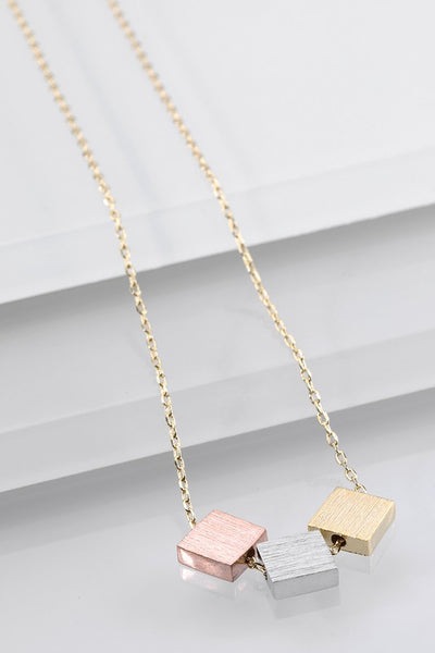 Tri Color Squares Necklace