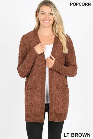 LAST CALL - Soft PopCorn Cardigan - Brown - XL