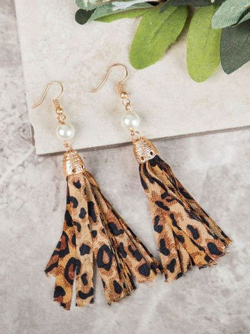 Cheetah Tassel Earrings