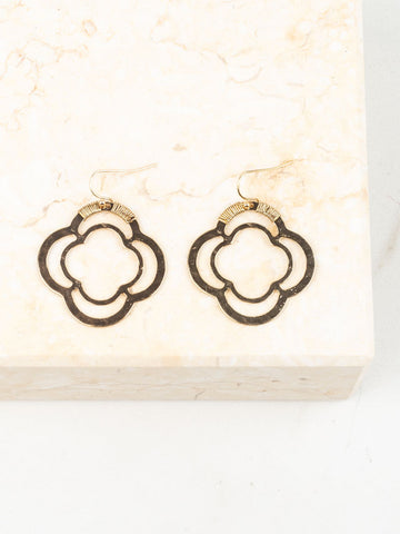 Wire Wrapped Quatrefoil Earrings