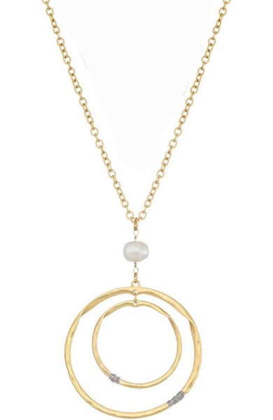 Double Circle with Pearl Necklace