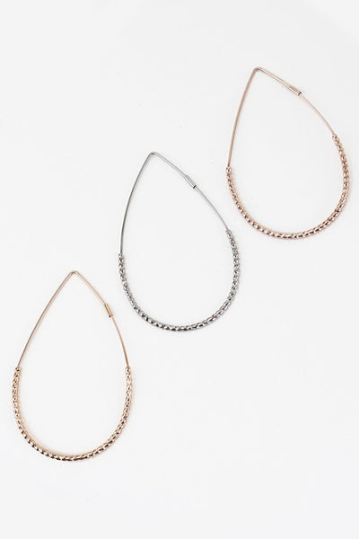 Textured Teardrop Hoop Earrings