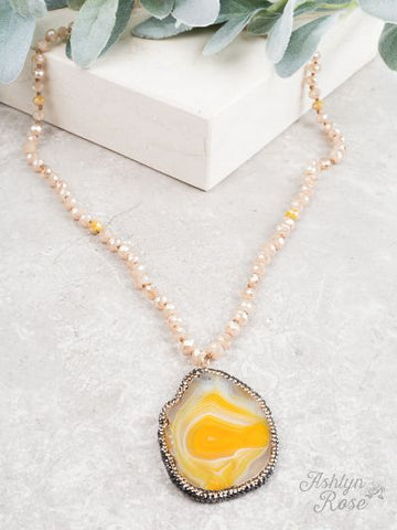 Here Comes the Sun Beaded Stone Necklace