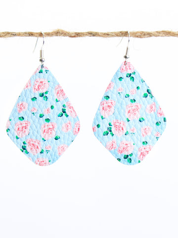 Floral Leather Kite Earrings