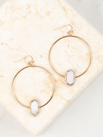 Mother of Pearl on Loop Earrings