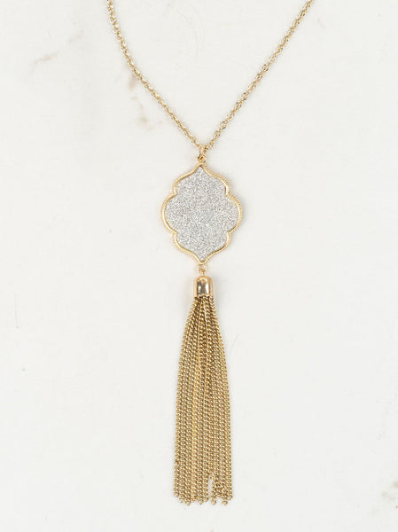 Silver Glitter Gold Tassel Necklace