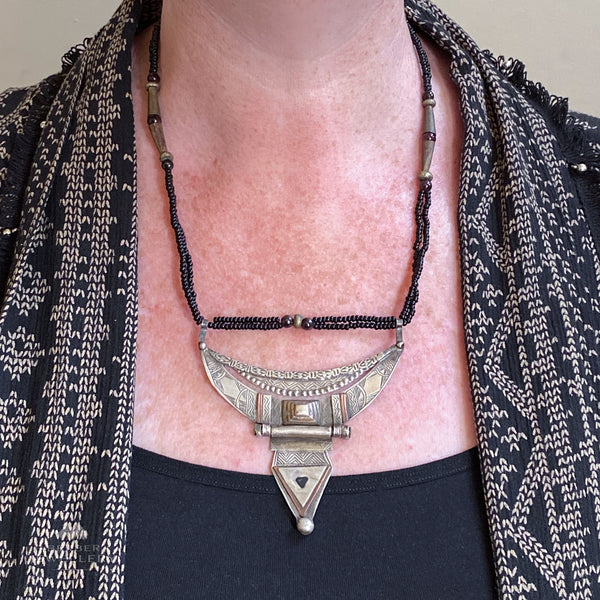 Vintage silver Tuareg hinged necklace