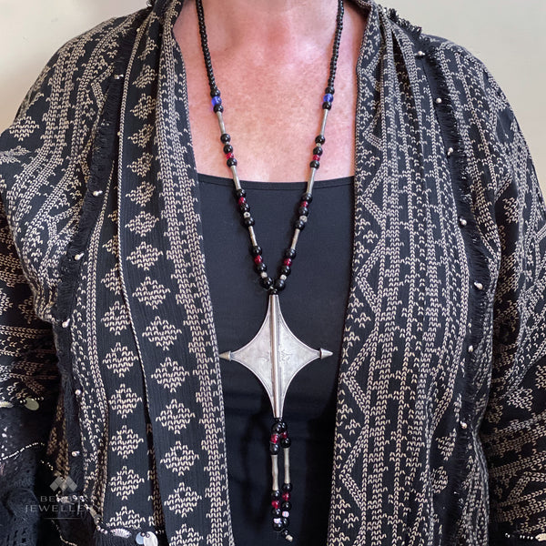 Vintage Tuareg 'egourou' cross necklace from In-Gall, Niger