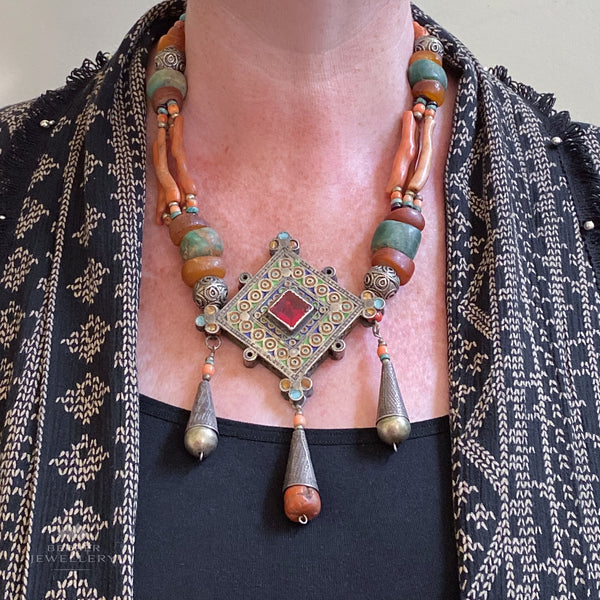 NEW PRICE Berber necklace with large silver hirz (amulet) from Morocco