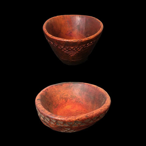 Two Berber wooden saffron bowls